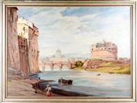 blick auf rom, über die engelsbrücke mit engelsburg by heinrich baakes