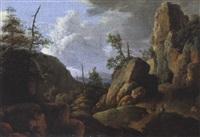 gebirgslandschaft mit zwei reitern by jan van aken