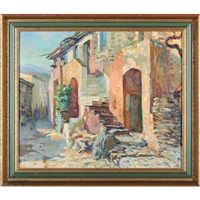 old houses in collioure by abel george warshawsky
