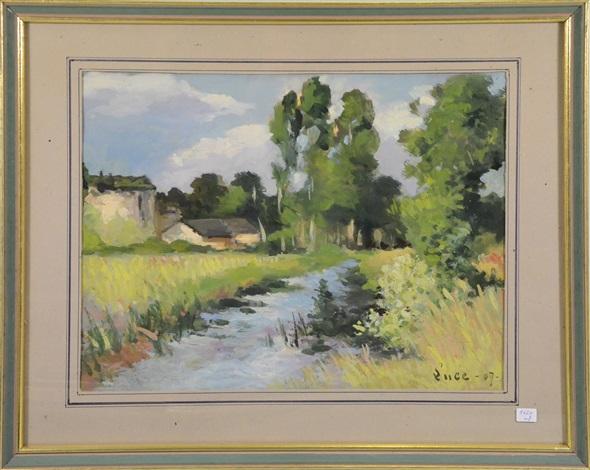 paysage à la rivière by maximilien luce