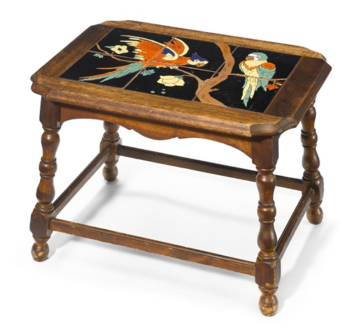 A Parrot Tile Table By Catalina Pottery