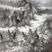 烟雨归牧图 by zeng xianguo