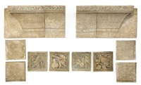 partial fireplace surround and various tiles (set of 86) by batchelder tiles