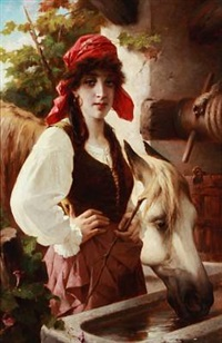 italian peasant girl with a white horse by luigi crosio