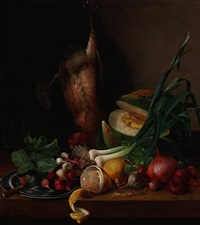 still life with game bird, radishes, lemons and different types of onions by johanne simonsen