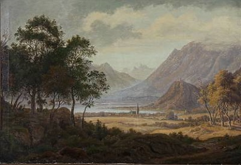 tyrolean landscape at kalterer see in northern italy by frederik christian j kiaerskou