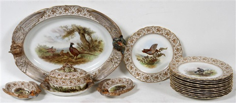 royal worcester porcelain game set c 1889 17 pieces service for twelve