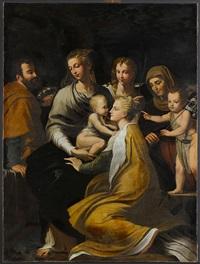 madonna mit kind, hl. margarethe, hl. josef, engel, hl. anna und johannesknaben by parmigianino