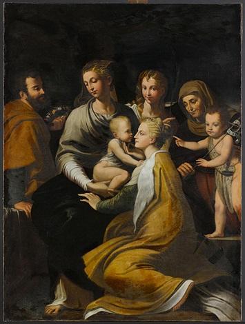 madonna mit kind hl margarethe hl josef engel hl anna und johannesknaben by parmigianino