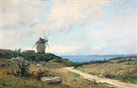 summer landscape with a mill by paul louis frédéric liot