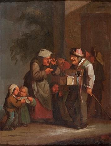 kirmesverkäufer umringt von bauersleuten und kindern by egbert van heemskerck the elder