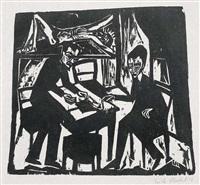 zwei männer am tisch by erich heckel