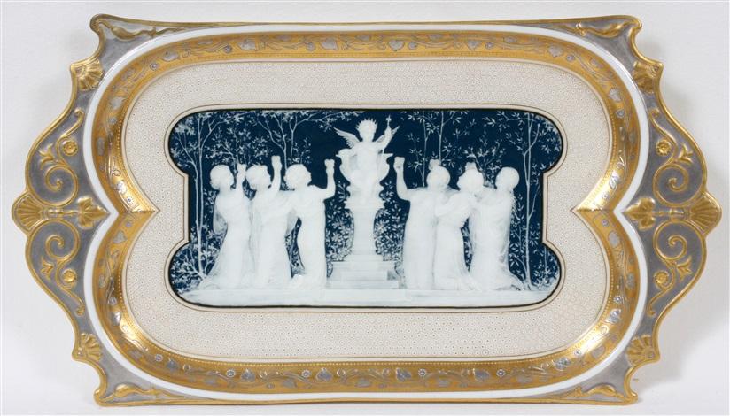 mintons pate sur pate porcelain tray by louis solon c 1880 l 13 sursum corda