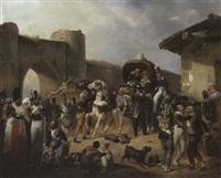 französische linieninfanterie aus der zeit der napoleonischen kriege beim sammeln zum abmarsch aus dem quartier by victor-jean adam