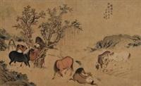 牧马图 by jiang tao
