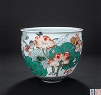 《荷趣》 (famille-rose glazed bowl with design of lotus) by dai yumei