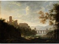 italienische fantasielandschaft mit bogenbrücke über einem fluss, höherstehendem campanile und figurenstaffage by willem von bemmel