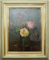 still life of roses in a glass vase by ernest higgins rigg