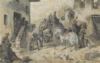 soldaten vor einer osteria by eugen adam