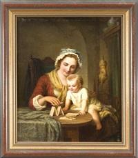 junge mutter baut zur unterhaltung ihres kindes ein kartenhaus by johann hermann kretzschmer