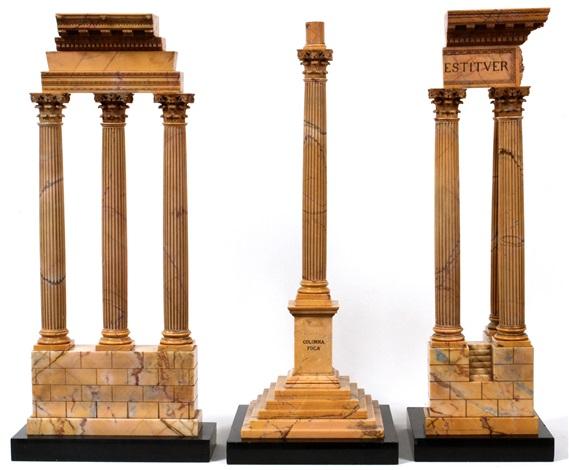 italian grand tour model ruins 19th c set of three pieces h 25