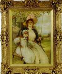 happy days: mother and child on a swing by robert walker macbeth