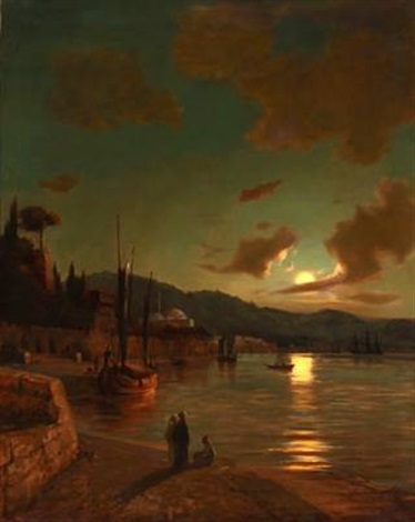evening light off constantinople by daniel hermann anton melbye