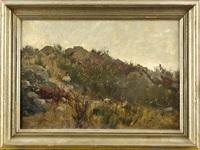 berliner landschaftsmaler, wohl frühes landschaftsmotiv aus seiner schwarzwälder zeit, felsige landschaft mit figurenstaffag by joseph rummelspacher