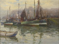 whitby harbour by augustus william enness