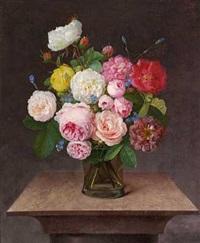 brogede roser og forglemmigej i en vase af glas by johannes ludwig camradt