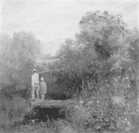 angler mit junge auf steg in blühender waldlandschaft by sergei smirnov