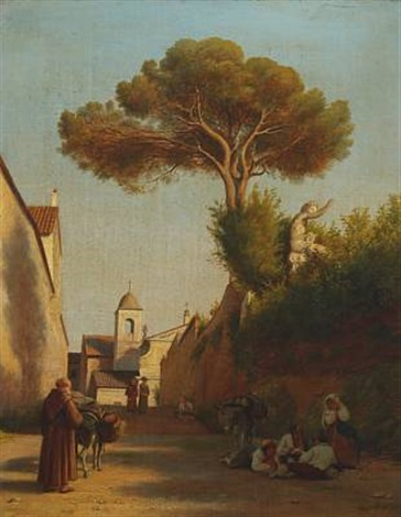 southern cityscape with persons by peter johann p raadsig
