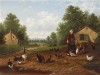 a farm scene with ducks and chickens by howard l. hill