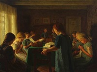 group of young girls sewing by valdemar holger v. rasmussen magaard