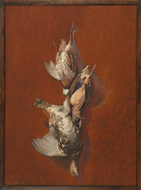 hanging game including a woodcock, a grouse and a quail by reginald f. bolles