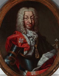portait of charles emanuel iii, king of sardinia and duke of savoy in the red robe of the supreme order of the most holy annunciation by claudio francesco beaumont