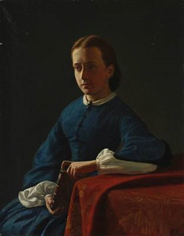 portrait of the artists fiancée later his wife anna ægidia rasmussen by carl jens erik c rasmussen