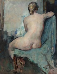 back turned nude female model (study) by herman albert gude vedel