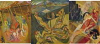 merry-go-round; sun bathers; modern apartment (triptych) by yun gee
