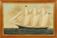 the schooner zacheus sherman in boston harbor by william pierce stubbs