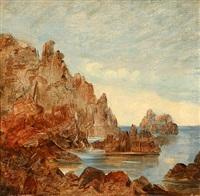 coastal scene from capri, italy (study) by jörgen roed