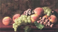 still life with peaches and grapes by william j. mccloskey