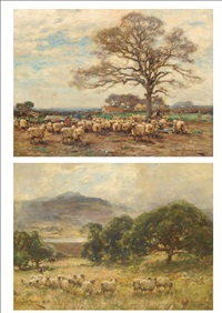 sheep in a lakeland landscape (shepherd and sheep beside a tree, farm in the distance; pair) by owen bowen
