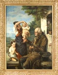 violine spielender bettler vor einer frau mit ihren zwei kindern u. alpiner landschaft im hintergr. by joseph haier