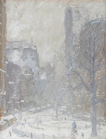 bowling green a blizzard by colin campbell cooper