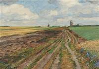 weite landschaft mit windmühle by jacob alberts
