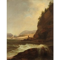 figures by a rocky inlet by alvan fisher