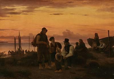 hornbeks fiskere paa deres samlingsplads om aftenen efter endt dagsværk by peter johann p raadsig