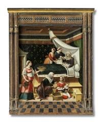 die geburt mariens. intérieur mit der hl. anna im wochenbett by innocenzo di pietro (da imola) francucci