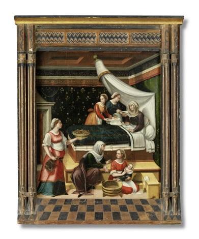 die geburt mariens intérieur mit der hl anna im wochenbett by innocenzo di pietro da imola francucci